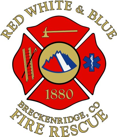 Red, White and Blue Breckenridge, Co Fire Rescue Logo
